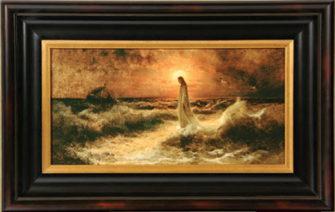 christ walking on water 15x22 framed art