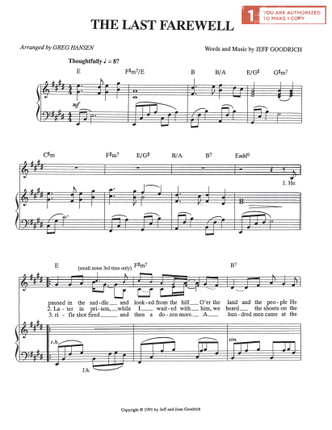 The Last Farewell (Sheet Music Download)