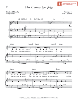 He Came For Me (Sheet Music Download)