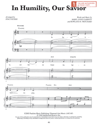 In Humility, Our Savior (Sheet Music Download)