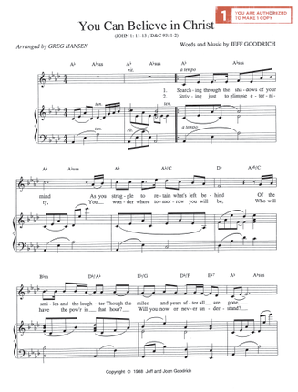 You Can Believe In Christ Sheet Music Download Deseret Book