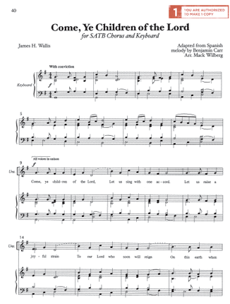 Come, Ye Children of the Lord (Sheet Music Download)