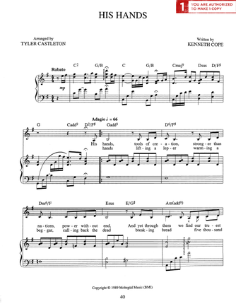 His Hands (Sheet Music Download)