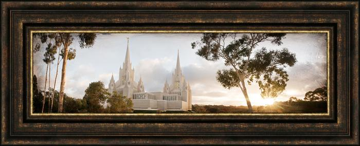 San Diego Temple, the Day Dawn is Breaking (19x48 Canvas Framed Art ...