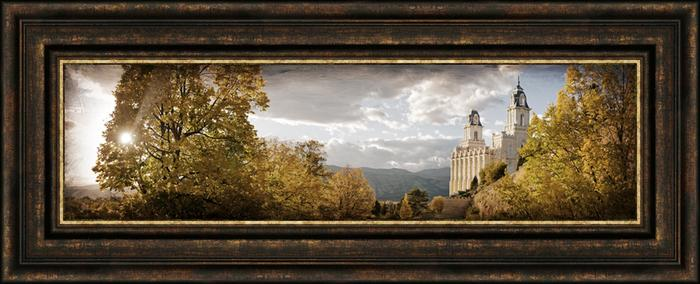 Manti Temple The Day Dawn Is Breaking 19x48 Canvas Framed Art