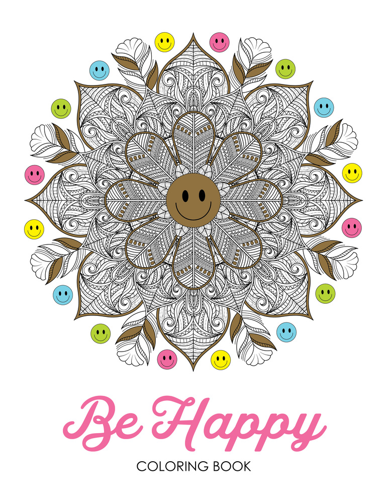 Be happy coloring book cover copy