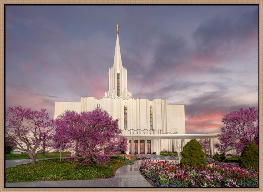 Covenant Path Temple: Jordan River Temple (30x41 Framed Canvas Giclee)