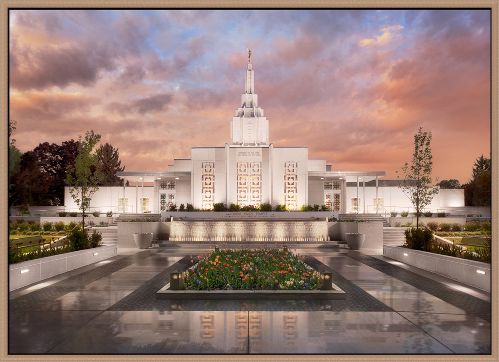 Covenant Path Temple: Idaho Falls Temple (30x41 Framed Canvas Giclee)