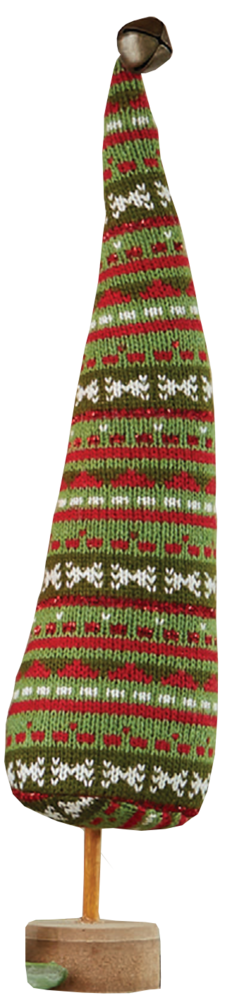 Knitted green stripe fabric tree