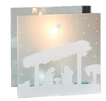 Glass nativity votive